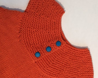 Orange Cotton Knitted Dress for One Year Old