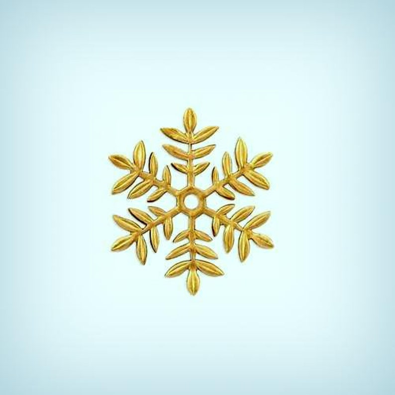 4 Brass Snowflake Connectors, Snowflake Jewelry Findings, Center Hole, 32mm  AMERICAN Made ~ ELEGANT Beauty !