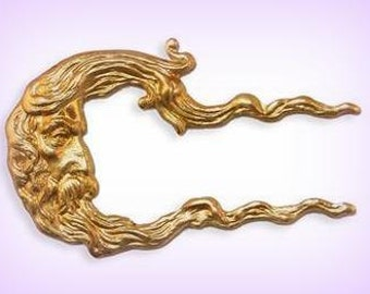1 Raw Brass Stamping Quarter Moon Face  ~ 40 x 25 mm Long Wavy Hair Brass Stamping Embellishment, AMERICAN Made ~ Way Cool !
