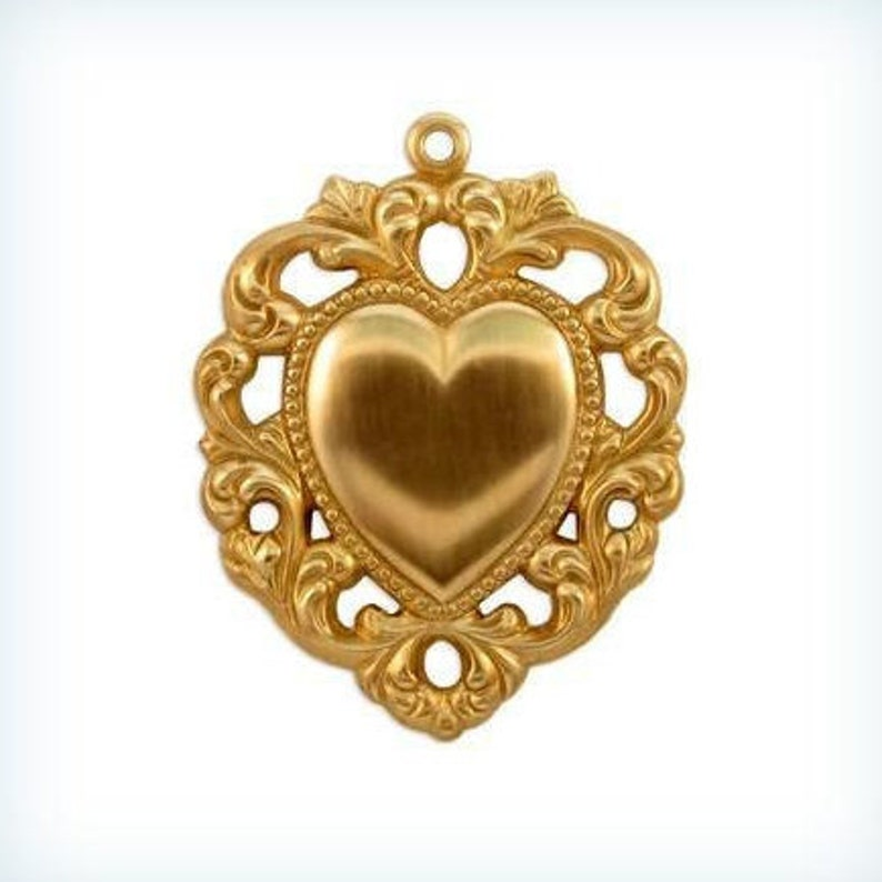 1 Brass Heart Pendant Stamping Raw Brass Stamping Heart Bezel Pendant AMERICAN Made EXTRA LARGE Steampunk Findings