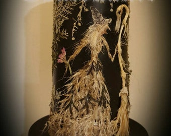 OOAK Witch with Broomstick Candle - Floral Candle - Eco Art - Hedge Witch - Oshibana - Botanical Art - Gothic Candle - Vintage Candle  Pagan