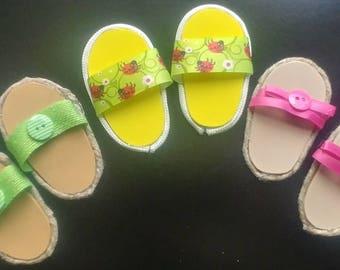 "Set of 3 Pairs American Girl 18"" Doll Sandals Slip On Shoes Flip Flops Yellow Lady Bug Green Brown Pink Ribbon Hemp Trim Set #9"