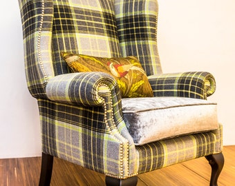 Wing Chair with Ball and Claw Foot - Handmade in England
