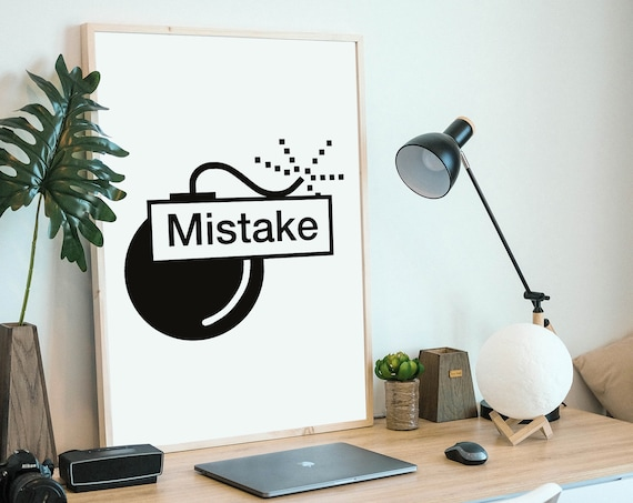 Mistake. Art to decorate. Sheet. Illustration. Digital download. Poster. Bomb Icon