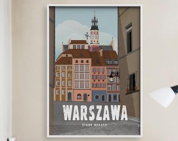 Warsaw. Poland. City poster. Wall decor art. Illustration. Digital print. City. Travel.