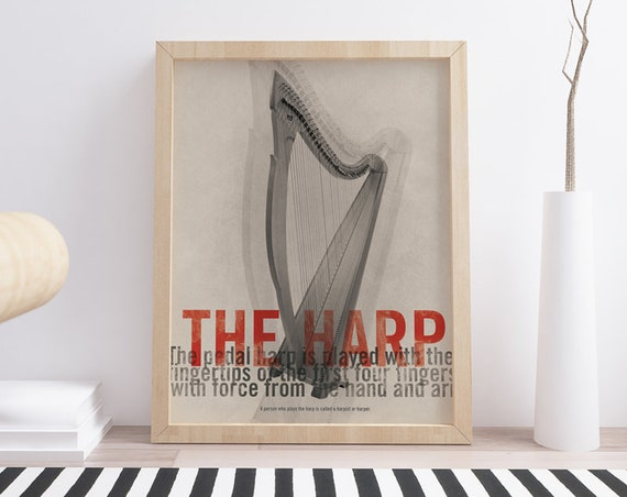 The Harp. Wall decor art. Poster. Illustration. Digital print. Music. Musical instrument.