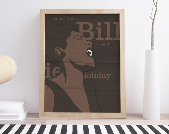 Billie Holiday . Jazz. Wall decor art. Poster. Illustration. Digital print. Music. Picture.