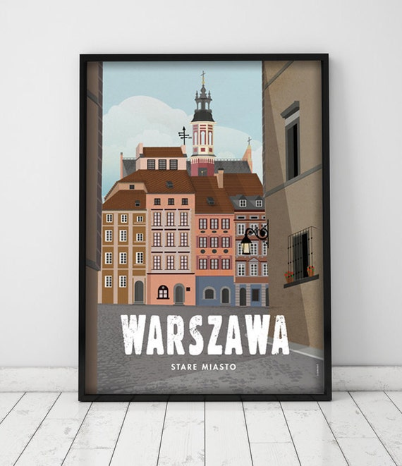 Warsaw. Poland. City poster. Wall decor art. Illustration. Digital print. City. Travel.