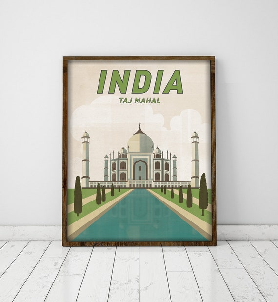 Taj Mahal. India. Wall decor art. Poster. Illustration. Cities. Travel.