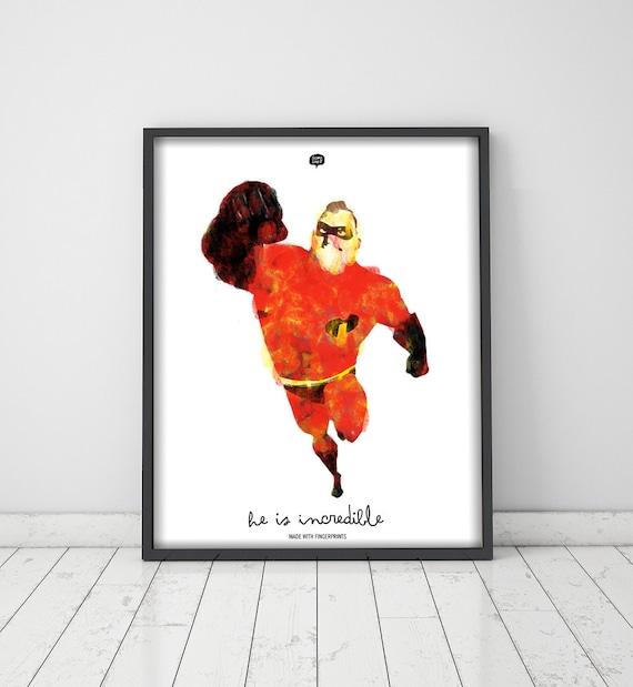 Wall art decor.  The Incredibles. Fingerprint. Printable art. Digital print. Illustration. Instant digital download