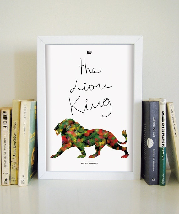 Wall art decor.  Picture The Lyon King. Fingerprint. Illustration. Printable art. Digital print. Instant digital download