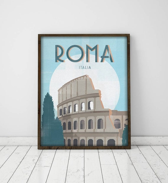 Rome. Italy. Poster. Poster. Art. Digital printing. Illustration. Travels. Cities. Coliseum. Wall decoration.