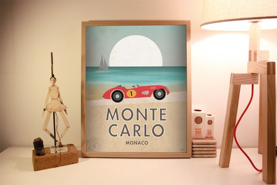 Montecarlo. Gran prix. Car. Vintage poster.  Wall decor art. Illustration. Digital print. City. Travel. 15,75x19,69 inch