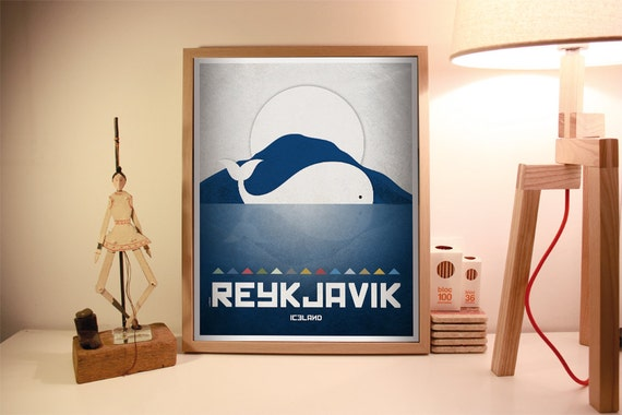 Reykjavik print. Iceland cityscape. Reykjavik skyline. Wall decor art. Typography art. Digital print. City. Whale. Travel.