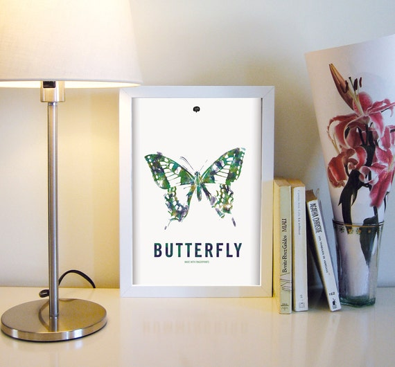 Wall art decor.  Picture Butterfly. Fingerprint. Illustration. Printable art. Digital print. Instant digital download