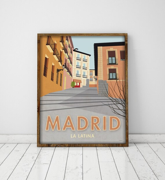 Madrid. Spain. Wall decor art. Poster. Illustration. Digital print. City. Travel.