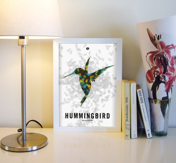 Wall art decor. Illustration. Picture Hammingbird. Fingerprint. Printable art. Digital print. Instant digital download