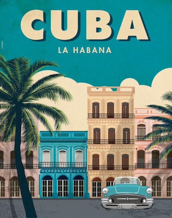 Havana. Cuba.  Wall decor art. Illustration. Digital print.  Poster. 15,75 x 19,69 inc