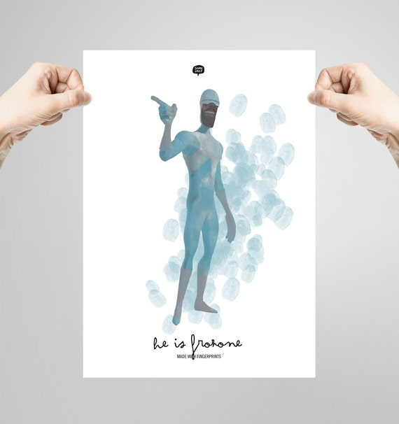 Wall art decor.  The Incredibles. Frozone. Fingerprint. Printable art. Digital print. Illustration. Instant digital download