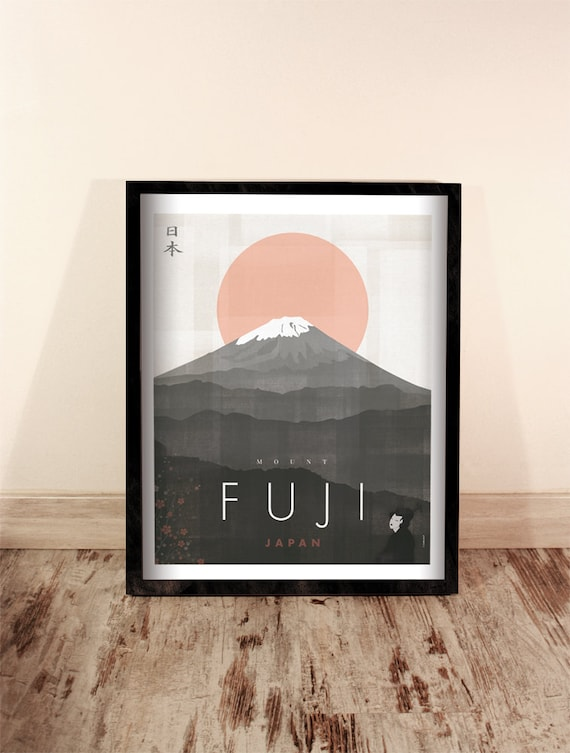 Mount Fuji. Japan. Wall decor art. Poster. Illustration. Digital print. Travel.