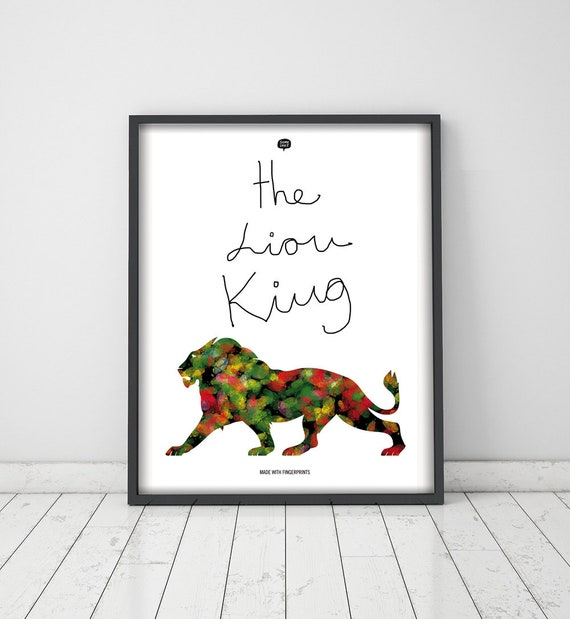 Wall art decor.  Picture The Lyon King. Fingerprint. Illustration. Printable art. Digital print. Instant digital download