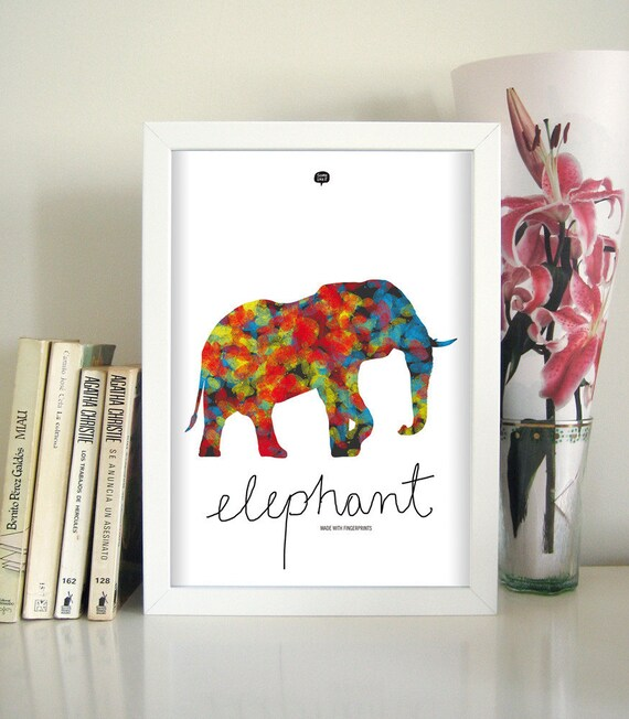 Wall art decor. Picture elephant. Illustration. Fingerprint. Printable art. Digital print. Instant digital download