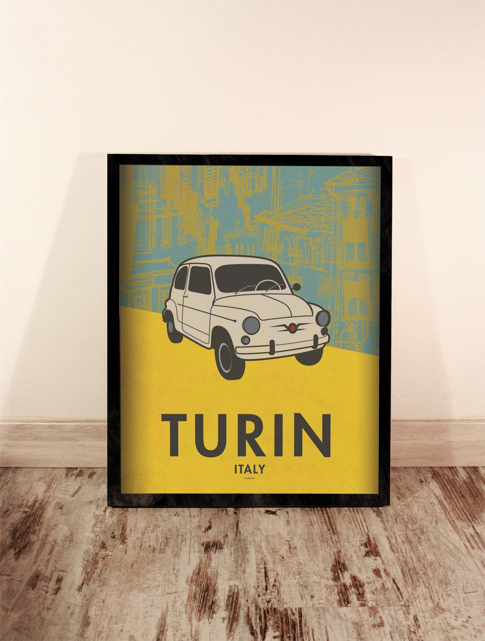Turin print. Italy cityscape. Car poster. Home Decor. Wall decor art ...