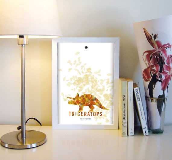 Dinosaur. Tricveratops . Wall art decor. Picture. Fingerprint. Illustration.Printable art. Digital print. Instant digital download