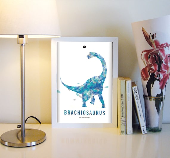Dinosaur. Brachiosaurus. Wall art decor. Picture. Fingerprint. Printable art. Digital print. Instant digital download