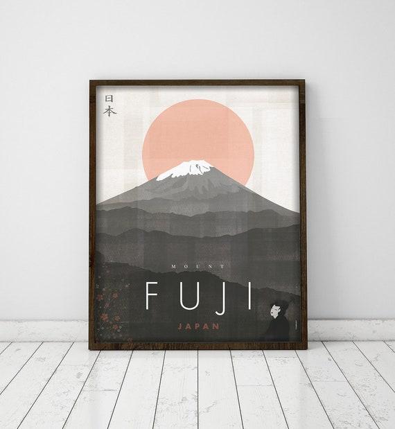 Mount Fuji. Japan. Wall decor art. Poster. Illustration. Digital print. Travel.