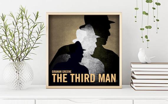 The third man. Graham Greene. Wall decor art. Illustration.  Instant digital download.Digital print. Book. Poster. 19.69 x 19.69 inc