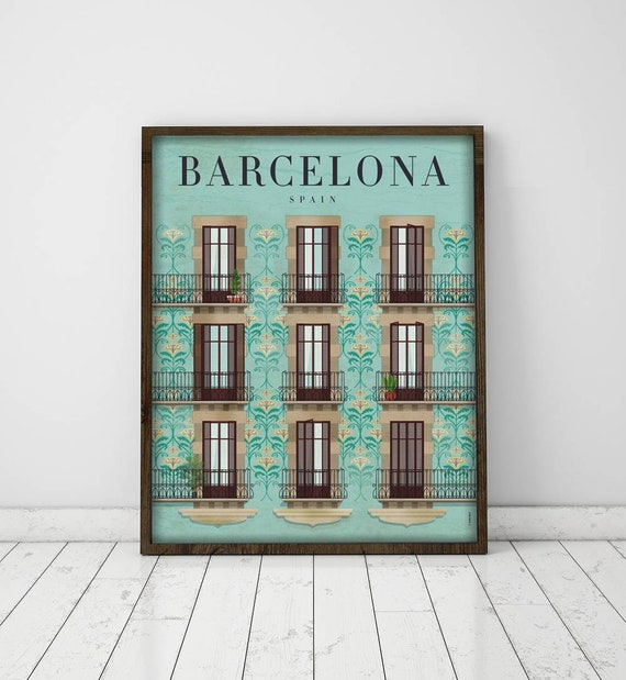 Barcelona. Spain. Affiche. Poster. Arte. Digital pronto. Illustration. Travel. City.