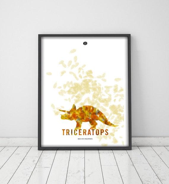 Dinosaur. Tricveratops . Wall art decor. Picture. Fingerprint. Illustration.Printable art. Digital print. Instant digital download