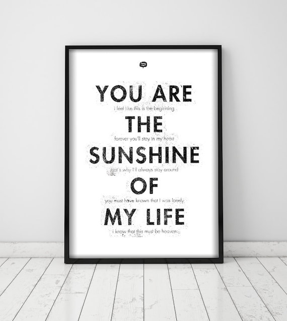 Wall art decor.  Picture Typography. Sunshine. Printable art. Digital print.  Instant digital download. Illustration.