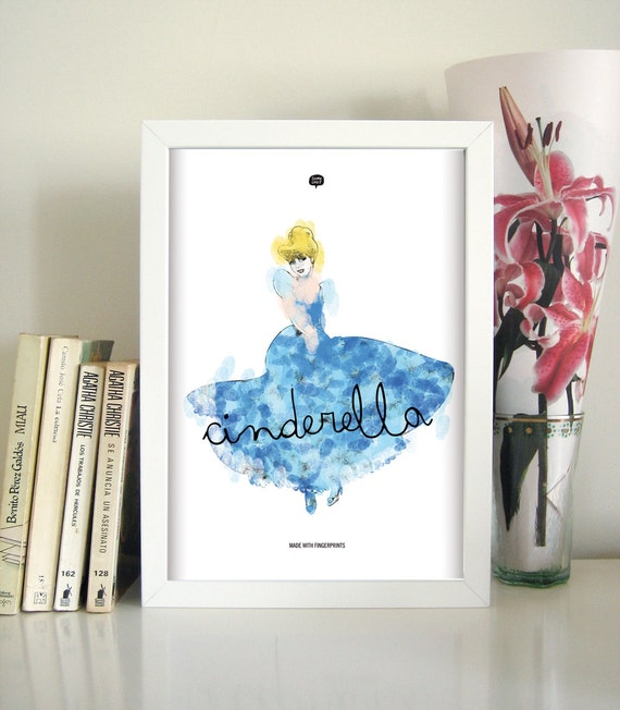 Wall art decor.  Cinderella. Fingerprint. Printable art. Digital print. Illustration. Disney Princess. Instant digital download