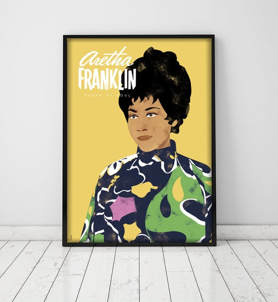 Aretha Franklin. Póster. Music. Soul. Illustration. Wall art decor.  Printable art. Digital print.  Instant digital download.