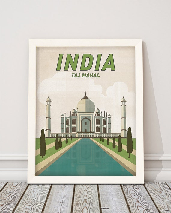 Taj Mahal. India. Wall decor art. Poster. Illustration. Digital download. Cities. Travel.
