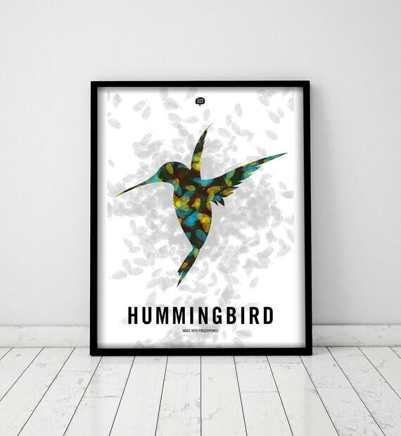 Wall art decor. Illustration. Picture Hammingbird. Fingerprint. Printable art. Digital print. Instant digital download