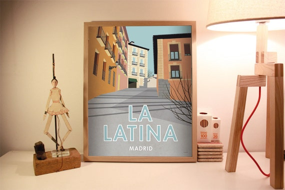 La Latina, Madrid. Spain. Wall decor art. Poster. Illustration. Digital print. City. Travel. 15,75x19,69 inch