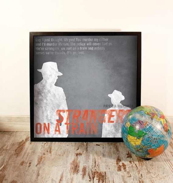Strangers on a train. Patricia Highsmith. Wall decor art. Illustration. Digital print. Book. Poster. 19.69 x 19.69 inch