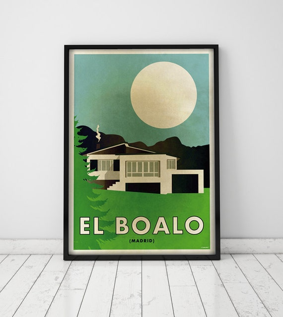 El Boalo. Madrid.  Spain. Country house. Wall decor art. Poster. Illustration. Digital print. City. Travel. 19,69 x 27,56 inch