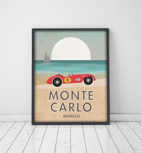 Montecarlo. Gran prix. Car. Vintage poster.  Wall decor art. Illustration. Digital print. City. Travel. 15,75x19,69 inch