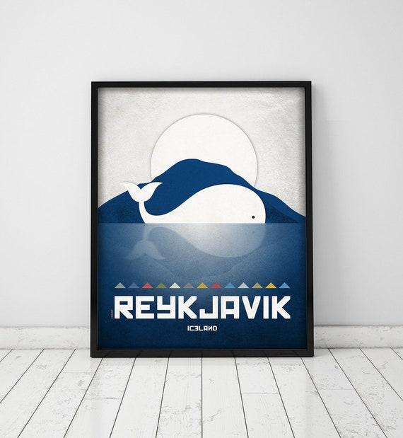 Reykjavik print. Iceland cityscape. Reykjavik skyline. Wall decor art. Typography art. Digital print. City. Whale. Travel.