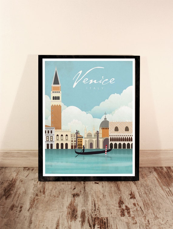 Venice. Italy. Vintage poster. Wall decor art. Illustration. Digital print. City. Travel.