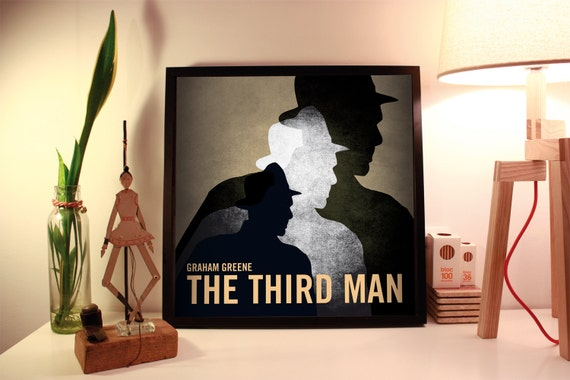 The third man. Graham Greene. Wall decor art. Illustration.  Instant digital download.Digital print. Book. Poster. 19.69 x 19.69 inc