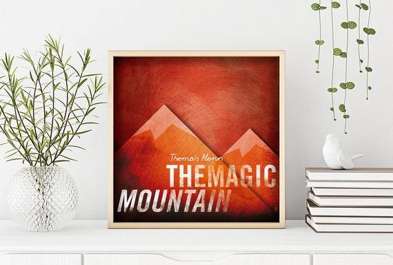 Magic Mountain. Thomas Mann. Wall decor art. Illustration. Digital print. Book. Poster. 19,69 x 19,69 inch