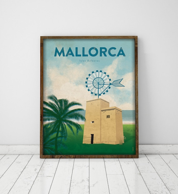 Mallorca.  Baleares.  Spain.  Poster.  Poster.  Art.  Digital printing.  Illustration.  Travels.  Windmill