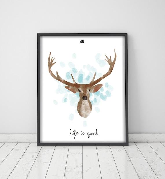Wall art decor.  Picture Deer. Fingerprint. Printable art. Digital print.  Instant digital download. Illustration.