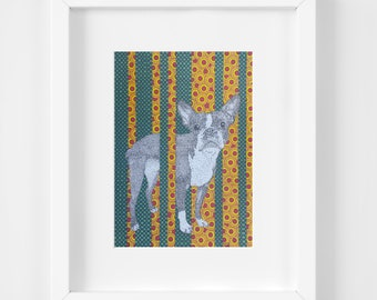 Boston Terrier Print, 11x14 Matted, Dog Wall Art, Pet Portrait, Dog Lover Gift, Puppy Illustration, Doggy Artwork,Animal, Geometric Print