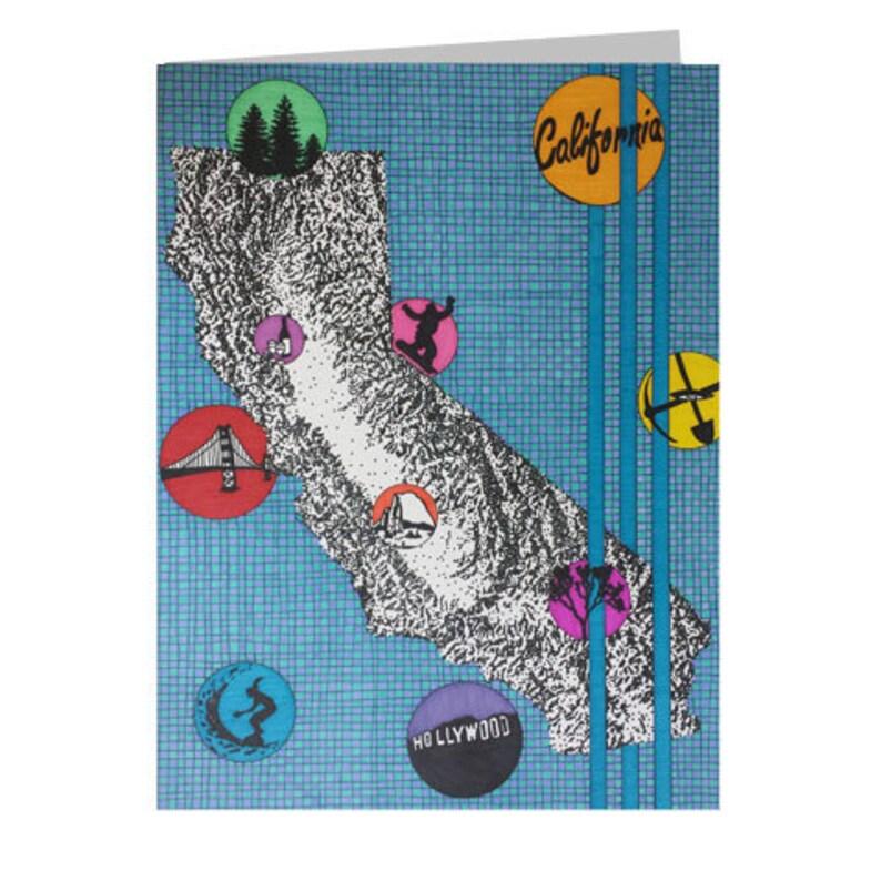 California 5x7 Card CA Stationery Travel Card Thank You Card Tourist Souvenir Blank Greeting Card Card From CA Birthday Card